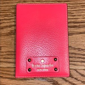Kate Spade hot pink leather passport case sleeve